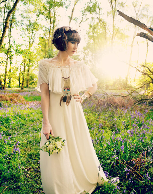 1970's Bluebell Hippie Bridal Shoot