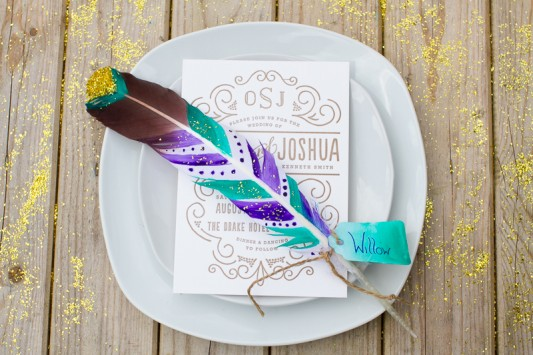 DIY Festival Feather Place Setting…