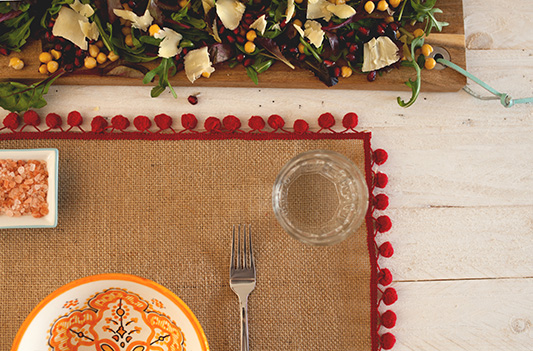 Moroccan Mats | DIY The Perfect Pompom Place Setting for your Bohemian Wedding Reception