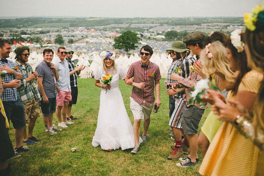 Katie and Stu's Wedding at Glastonbury Festival