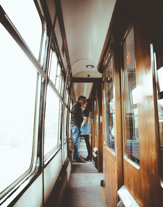 Off the Rails – Anna & Myles Embsay Steam Railway Engagement Shoot