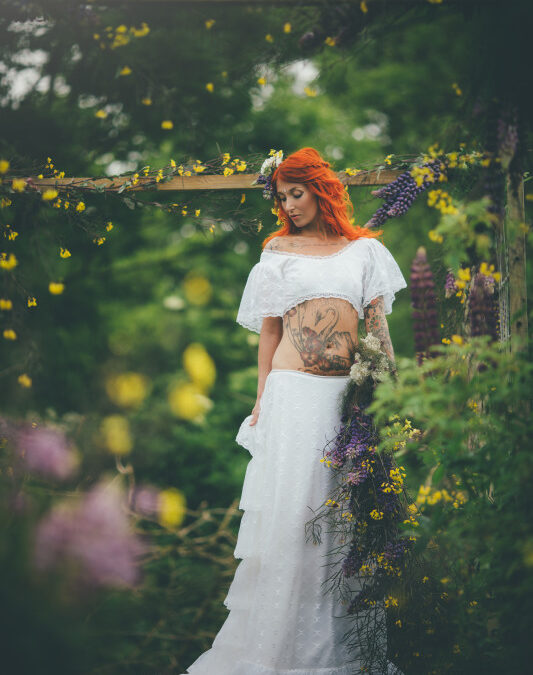 An Enchanted Brides Shoot in a Cornish Cutting Garden….