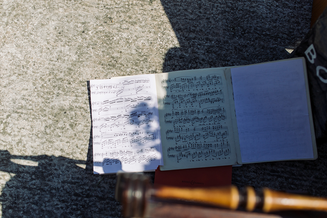 sheet music at a festival wedding