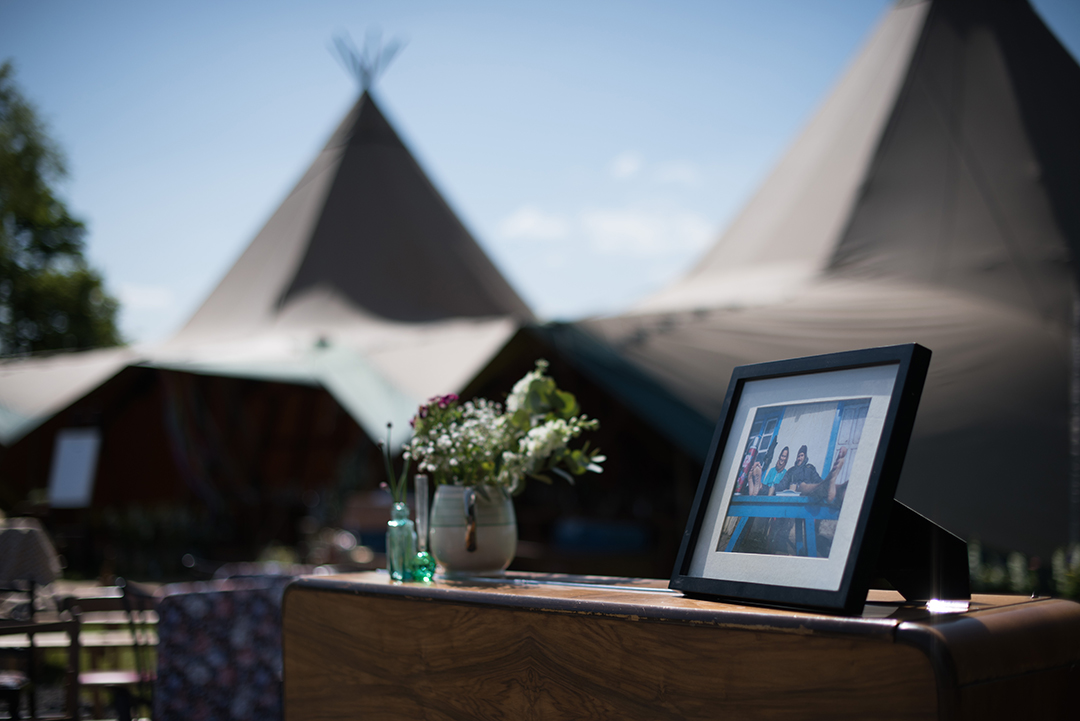 wedding decor and tipis at a festival style wedding