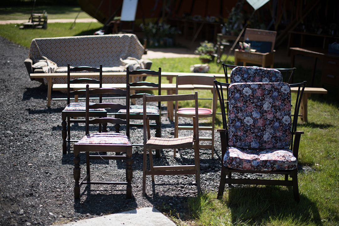 ceremony chairs at a festival style wedding