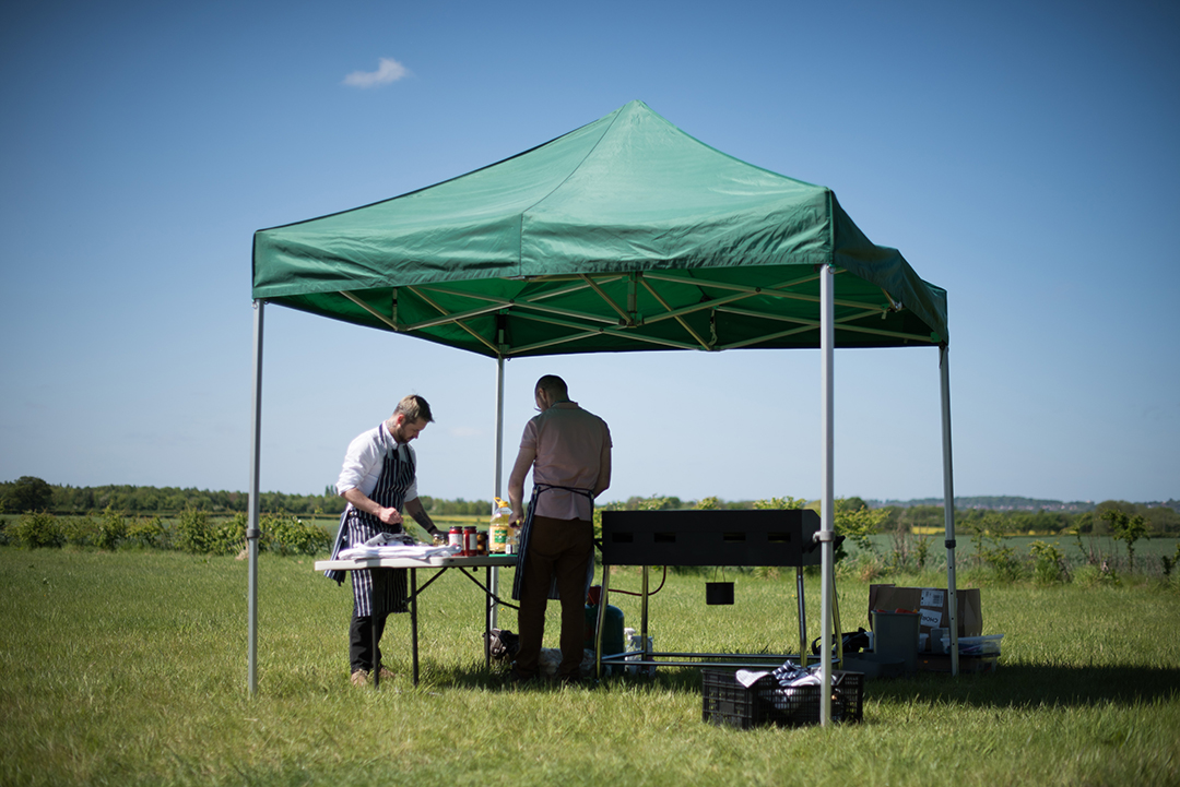 outdoor catering for a festival style wedding