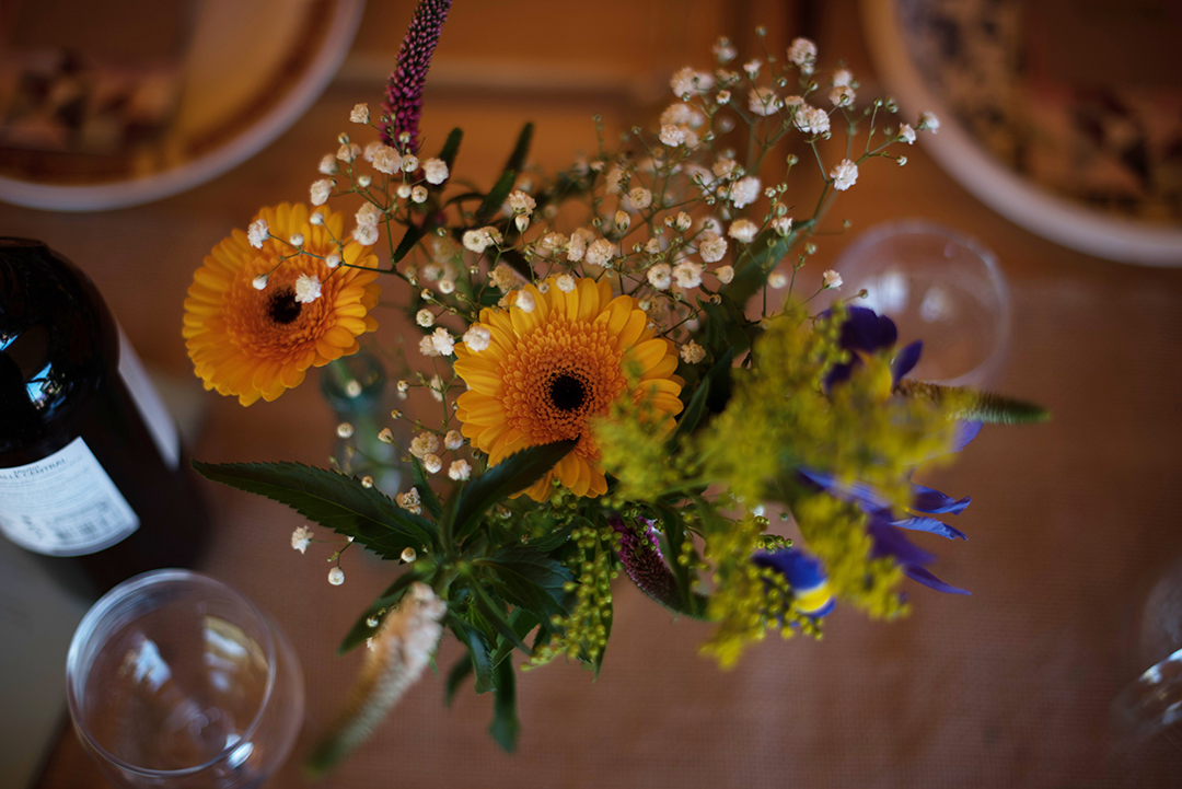 wedding flowers at a festival wedding