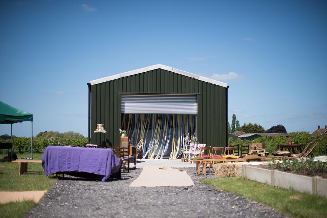 outdoor wedding ceremony decor for a festival wedding