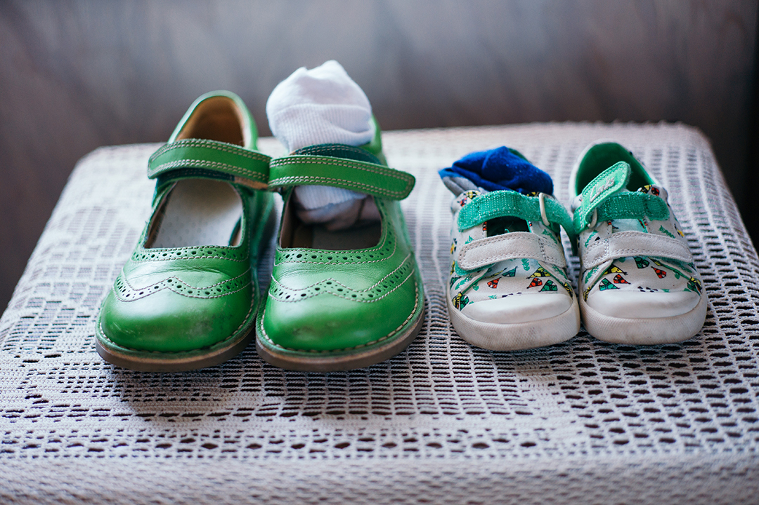 flower girl and page boy shoes for a festival style wedding