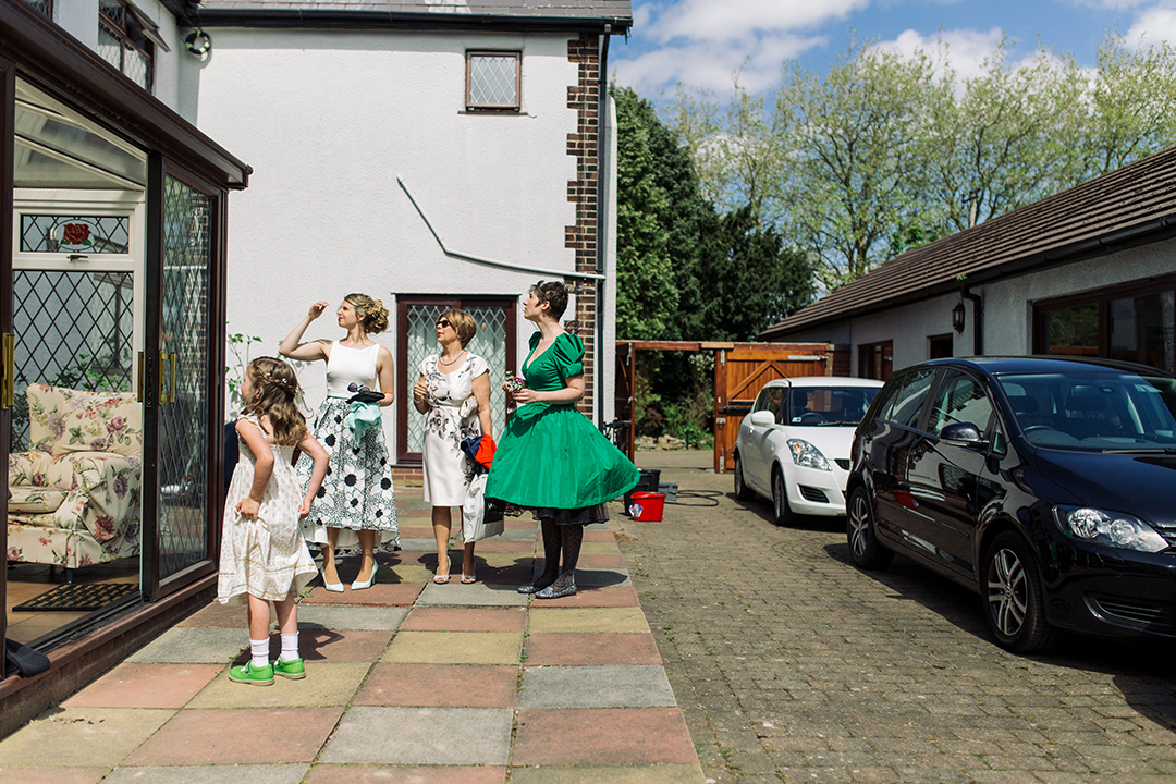 bridesmaids at a festival style wedding