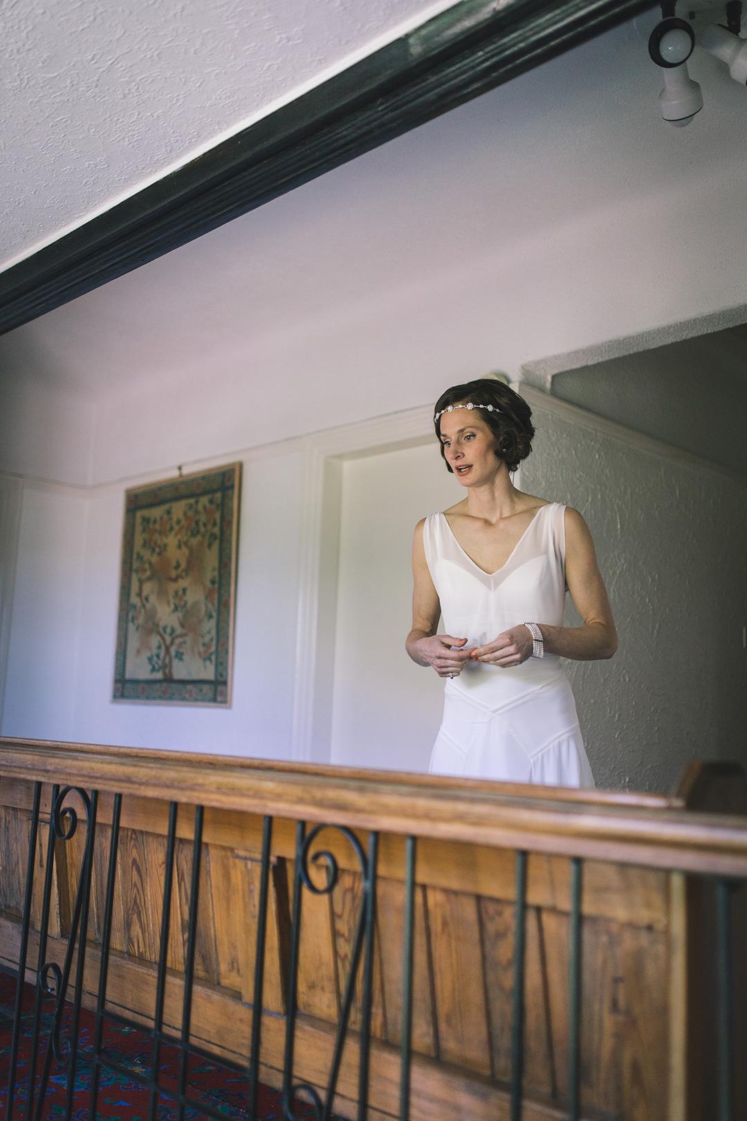 bride in elegant boho wedding dress