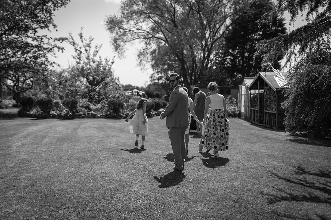 guests arriving at a festival style wedding