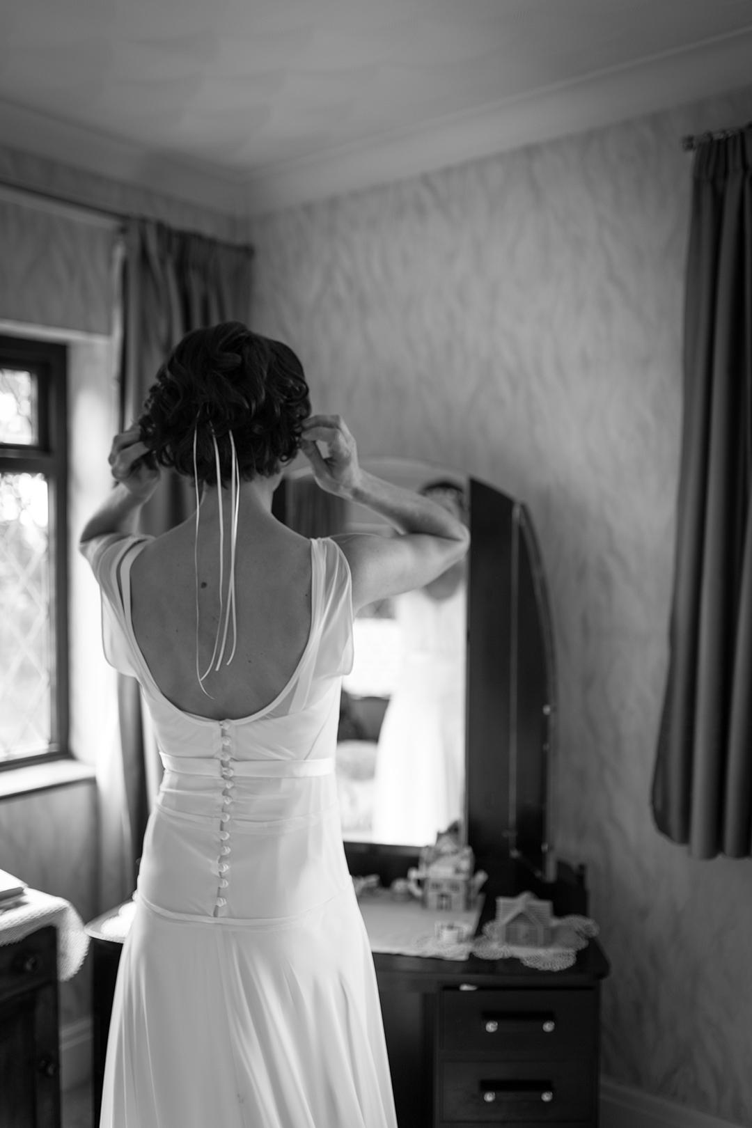 bride getting ready at a festival style wedding