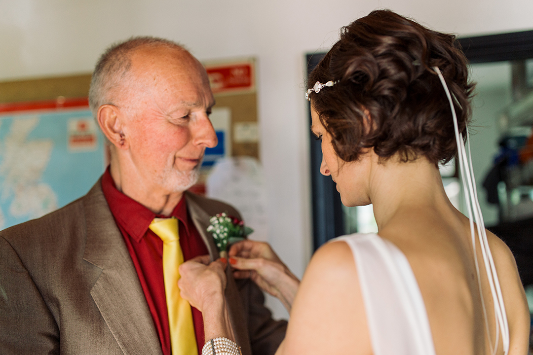 bride and father of the bride at a festival style wedding