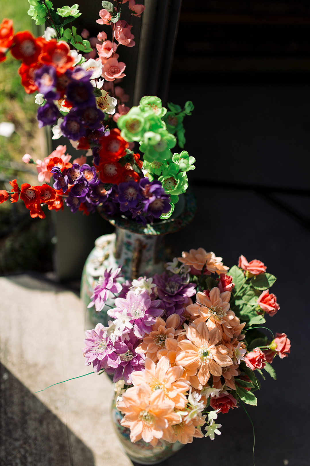 colourful wedding flowers at a festival style wedding