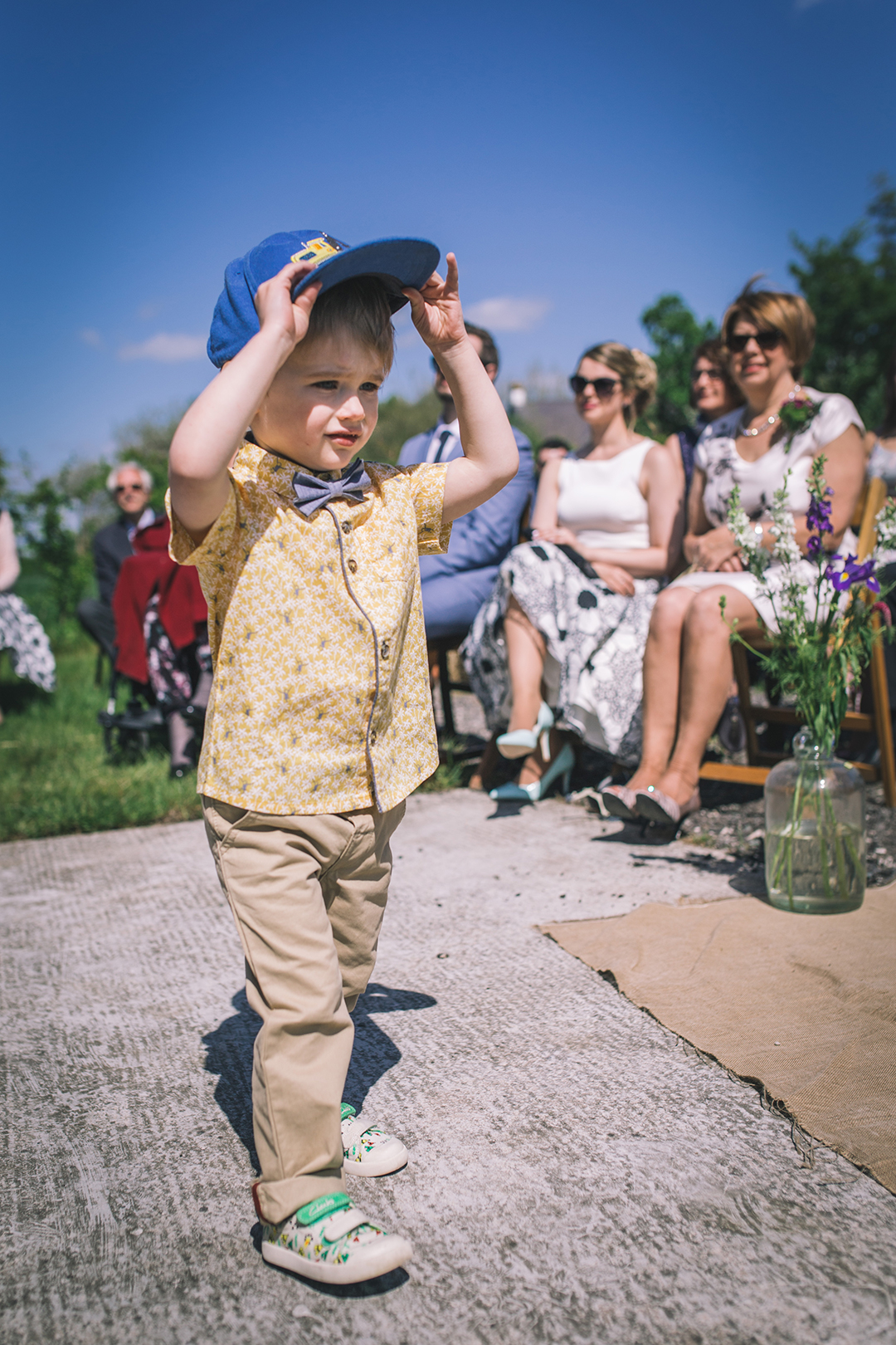page boy at a festival style wedding
