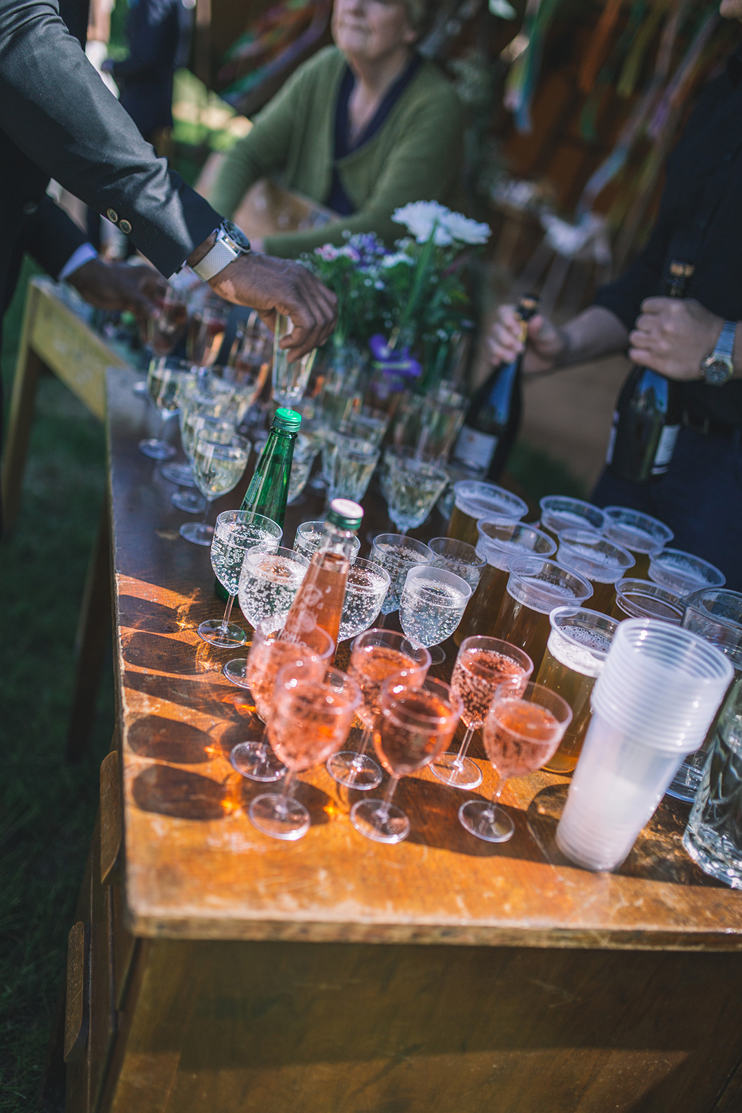 wedding drinks at a festival style wedding