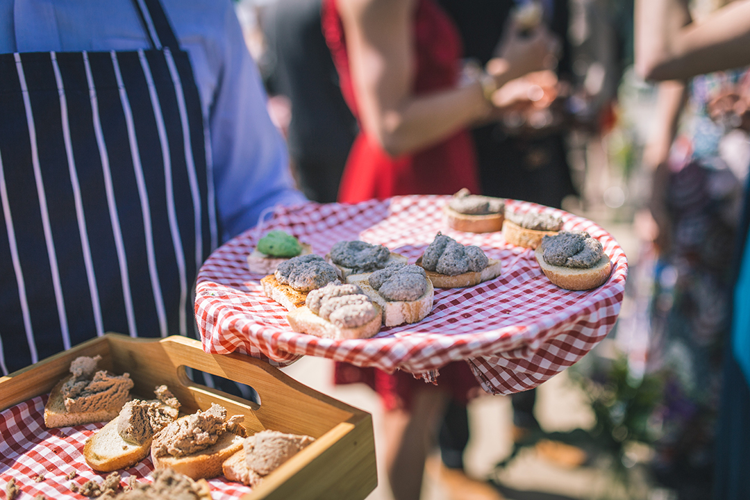 wedding canapes and food at a festival style wedding
