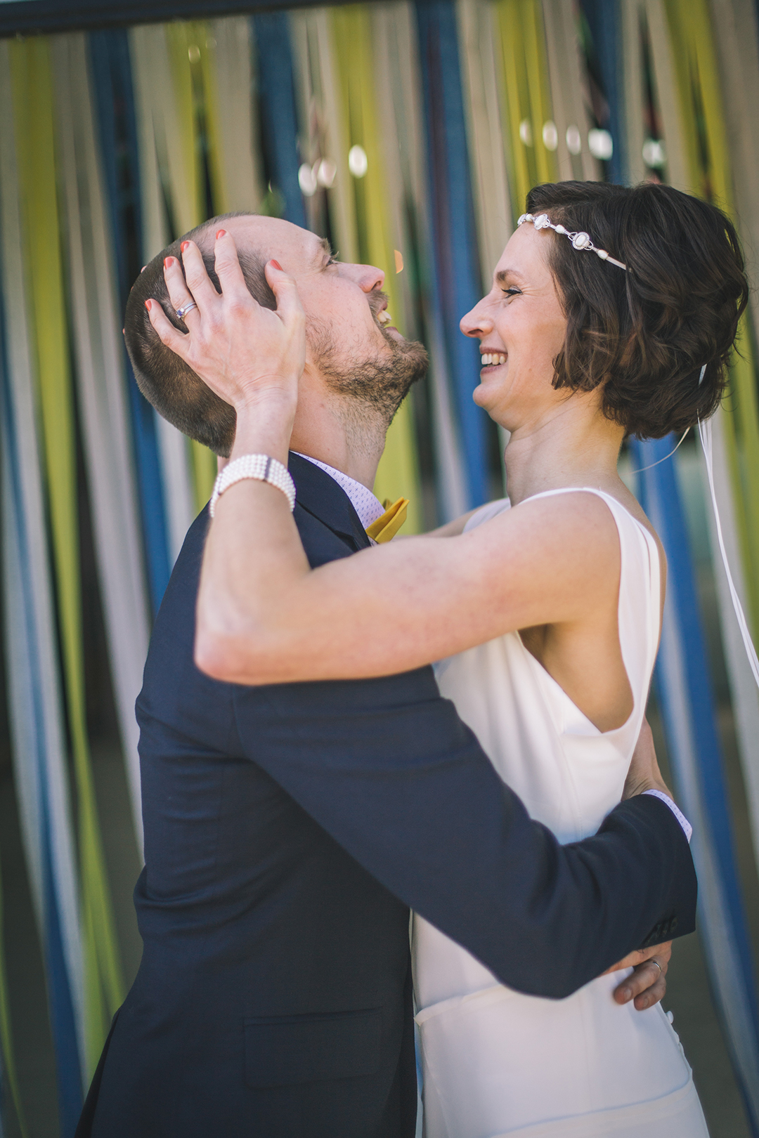 bride and groom at a festival style wedding