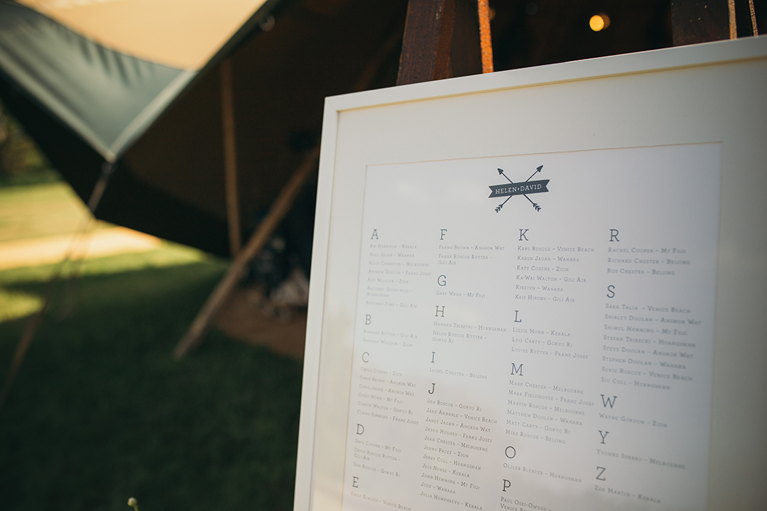 table plan for an outdoor festival style wedding