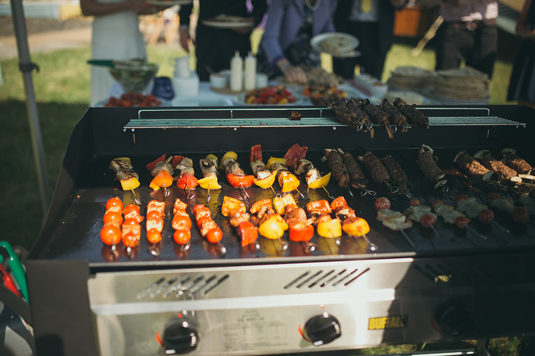 BBQ wedding catering at a festival style wedding