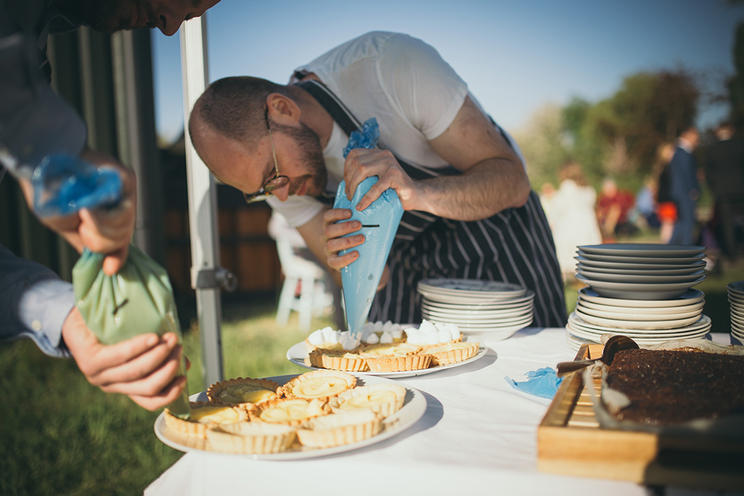 outdoor catering at a festival style wedding