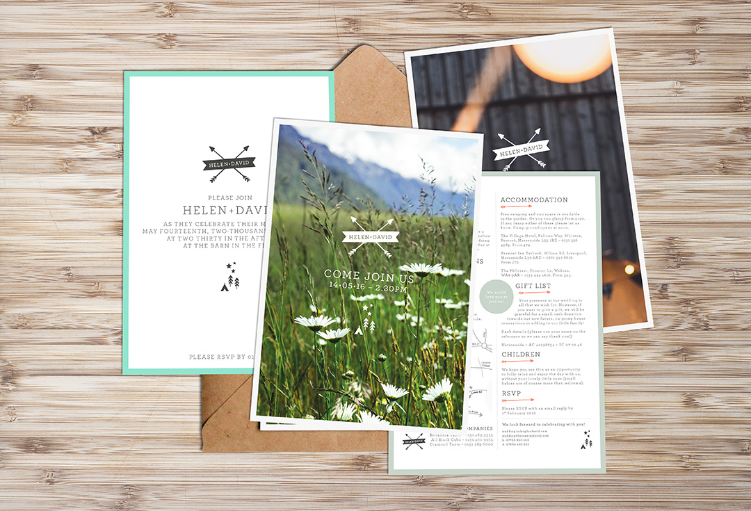wedding invitations for an outdoor festival style wedding