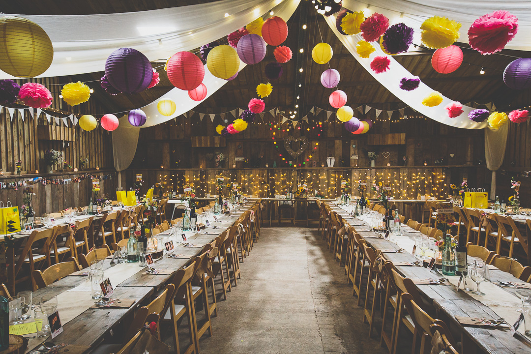 barn-decor-colourful-pom-poms-festival-style-wedding-in-devon-alexa-pope-photography