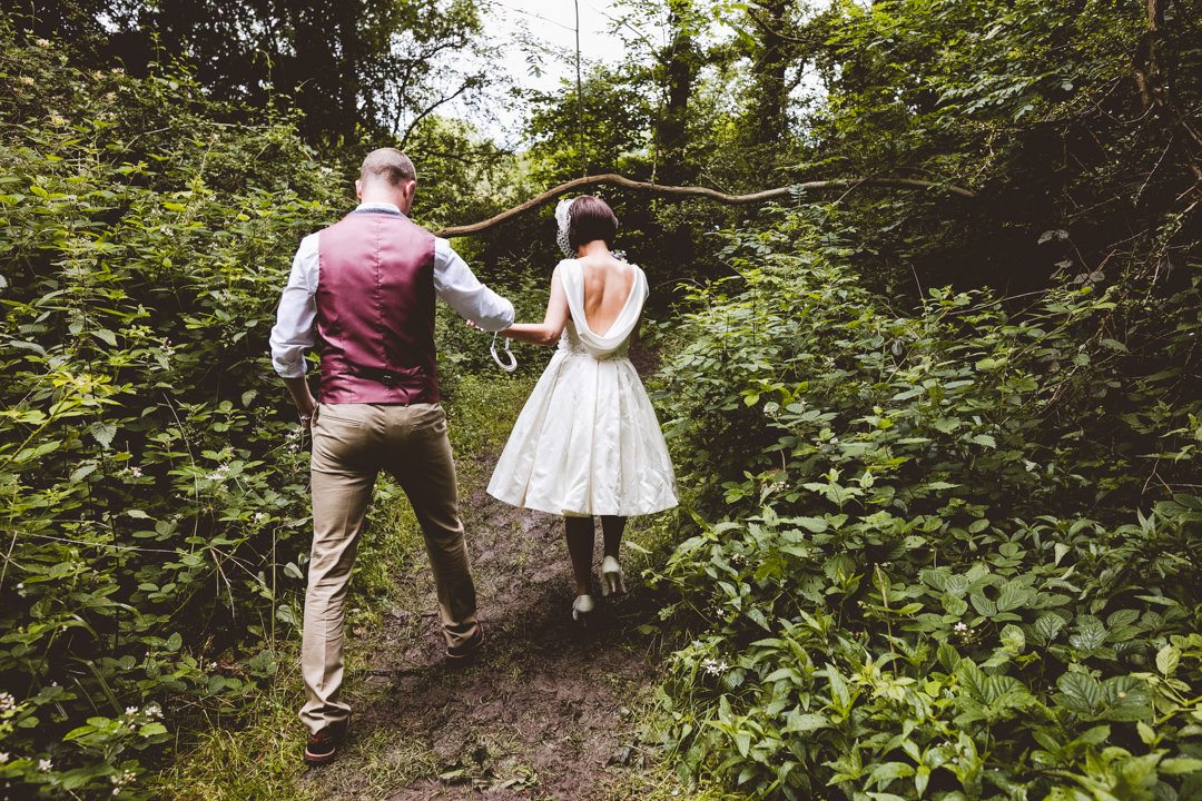 woodland-ceremony-jen-and-mat's-festival-wedding-Scraptoft farm