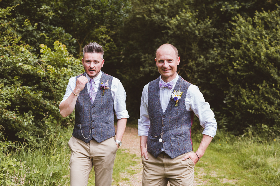groom-and-bestman-jen-and-mat's-festival-wedding-at-Scraptoft farm