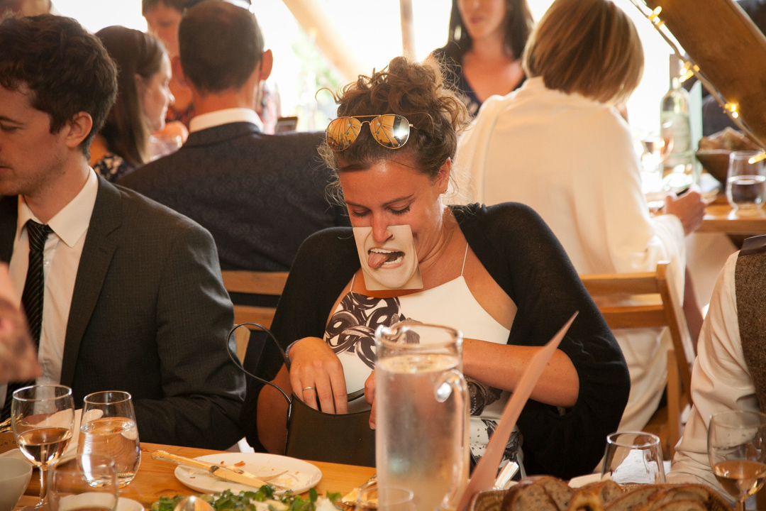 funny-masks-sara-and-tims-festival-wedding-joe-buford-photography