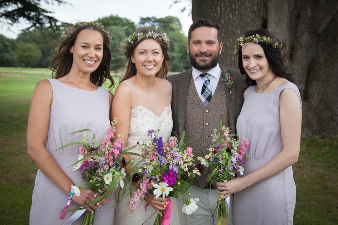 Bride-groom-and-bridesmaids-sara-and-tims-festival-wedding-joe-buford-photography