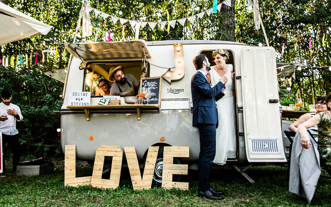 Céline and Stefano's Romantic and Colourful Street Food Festival Wedding