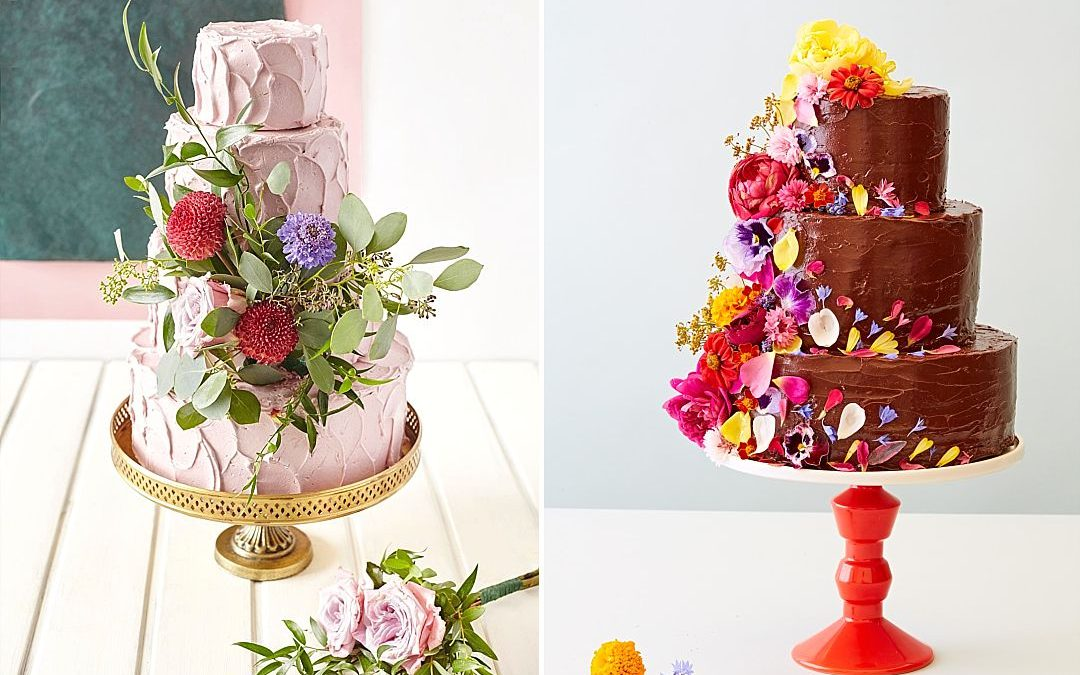 Six Ways To Factor Floral Designs Into Your Wedding Cake with Bee's Bakery