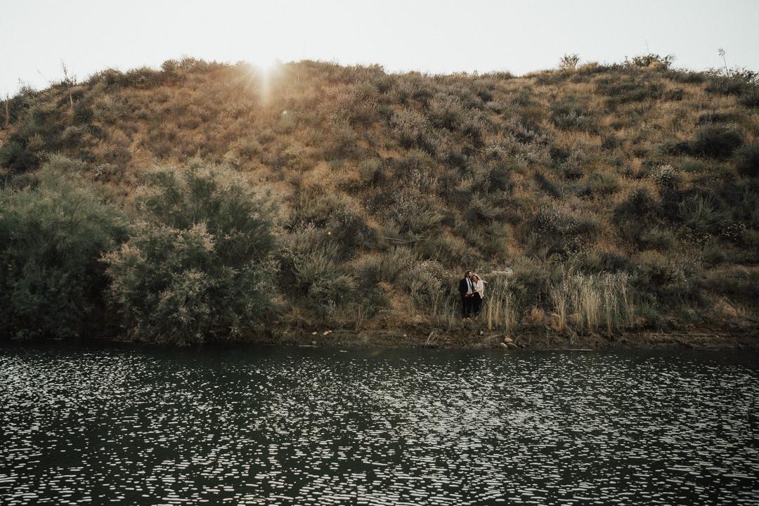 beautiful couple shot captured at the waterside of Lake Casitas