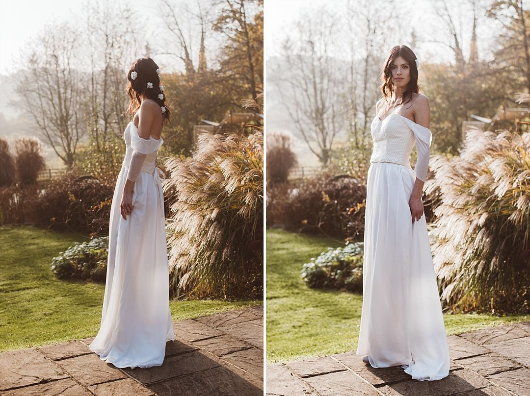 Bohemian Bride wearing Jessica Turner Knitted Bridal Separate and Corset