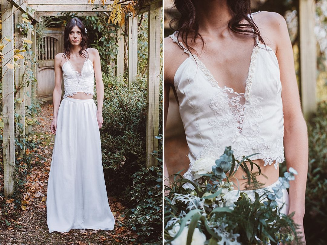Front of boho bride wearing delicate and beautiful knitted bridal separates by Jessica Turner Designs