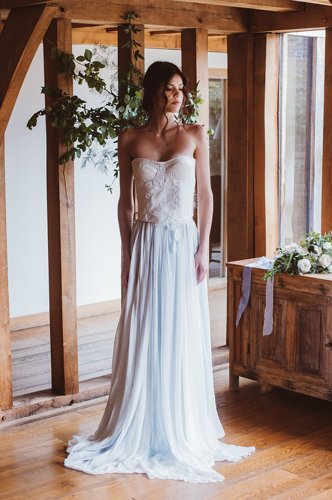 stunning bohemian style knitted bridal corset and skirt by Jessica Turner Designs