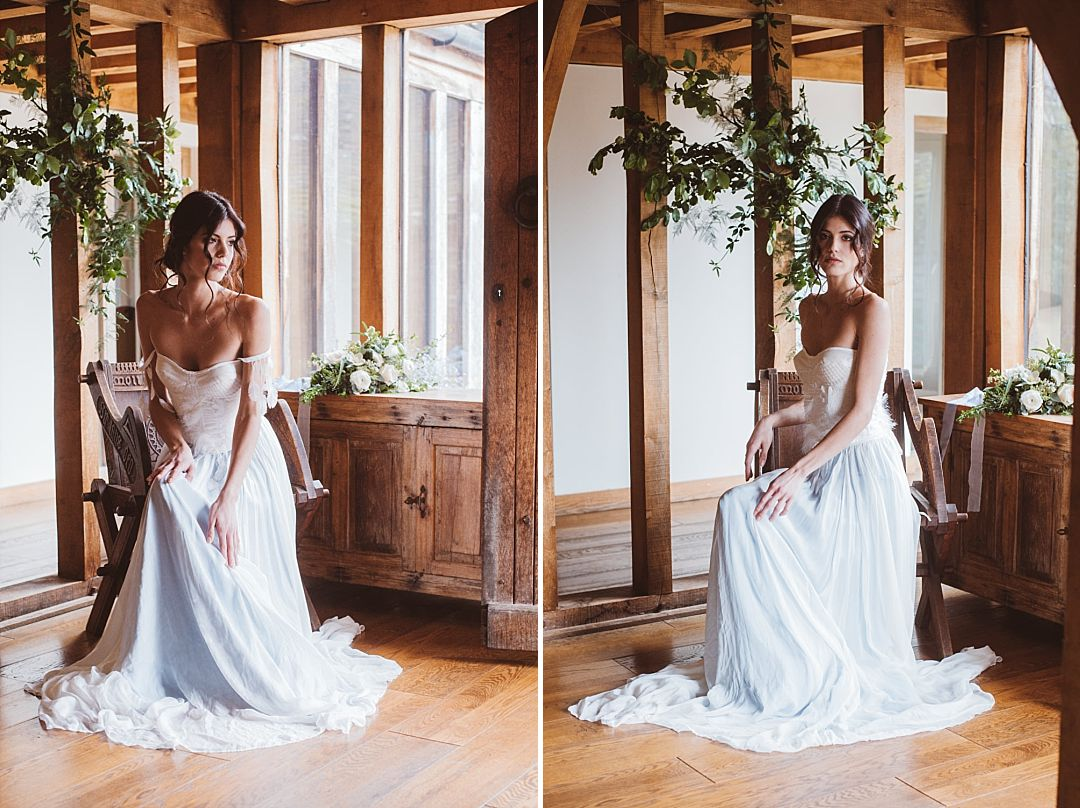 Beautiful bohemian Bridal Corset and Skirt with Feathers and Knitted Details by Jessica Turner Designs