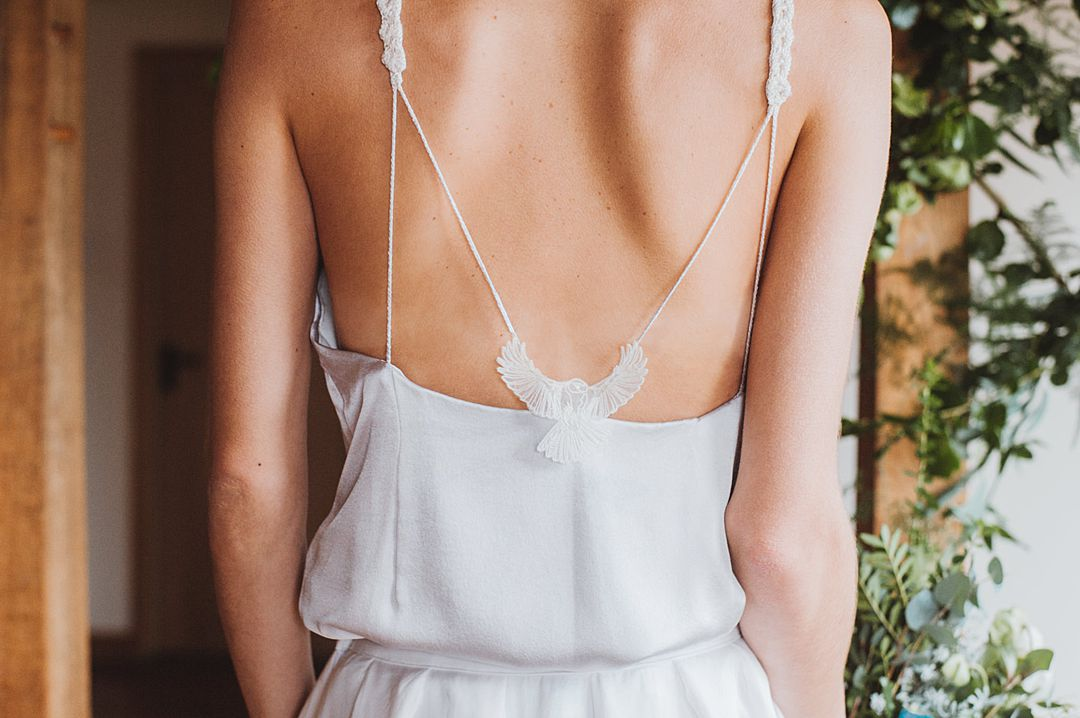 Stunning bridal silk satin top with embroidered bird on the back by Jessica Turner Designs