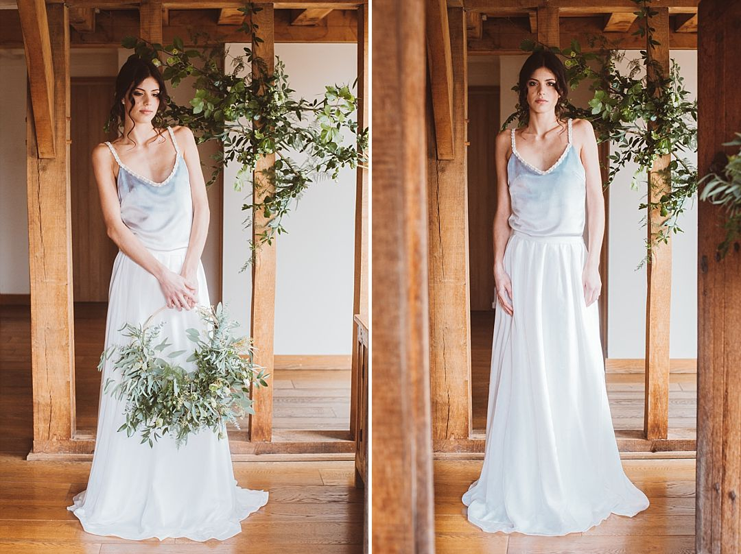 Bohemian bridal separate with silk knit flower straps and blue dip dyed top by Jessica Turner Designs