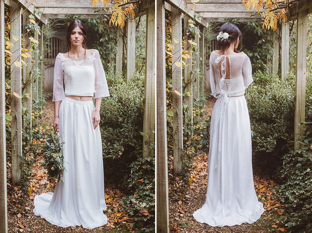 white bridal bodice with a silk separate top with bird embroidery and straight white bridal skirt by Jessica Turner Designs