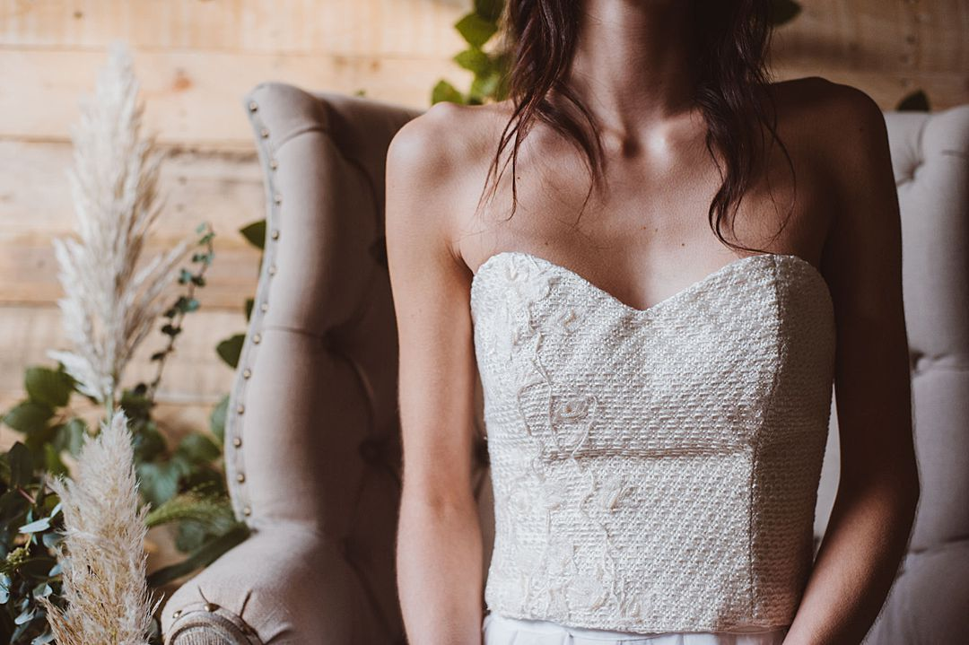 bohemian wedding separates with corset by Jessica Turner Designs